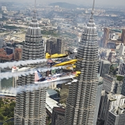 Air Race Pilots Fly by Malaysia's Landmark Towers